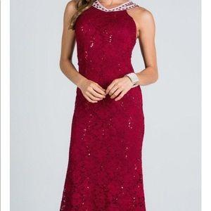 Long burgundy dress!